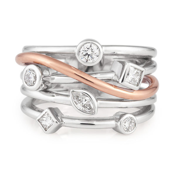 Abstract white & rose gold diamond ring