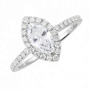 Marquise cut diamond halo ring