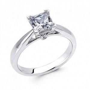 Princess cut diamond solitaire ring