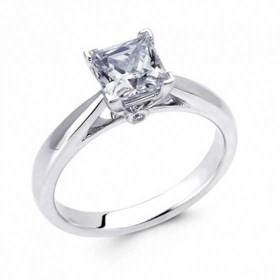 Princess cut diamond solitaire ring