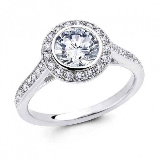 Brilliant cut diamond halo ring