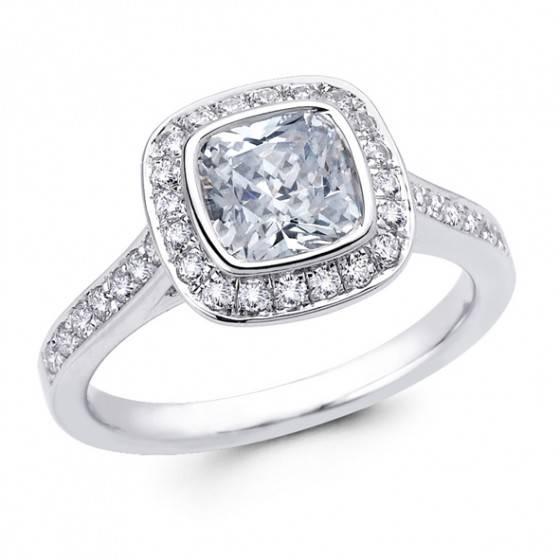 Cushion cut diamond halo ring