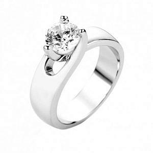Brilliant cut diamond solitaire ring