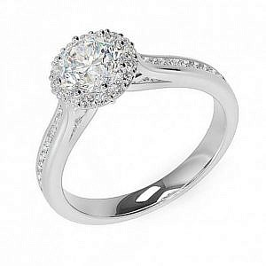 Brilliant cut diamond halo ring