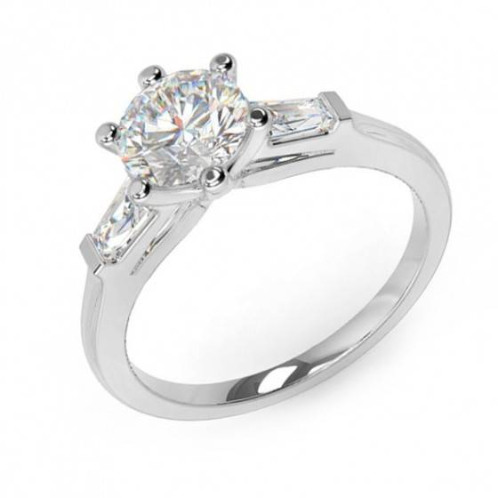 Brilliant & baguette cut diamond ring