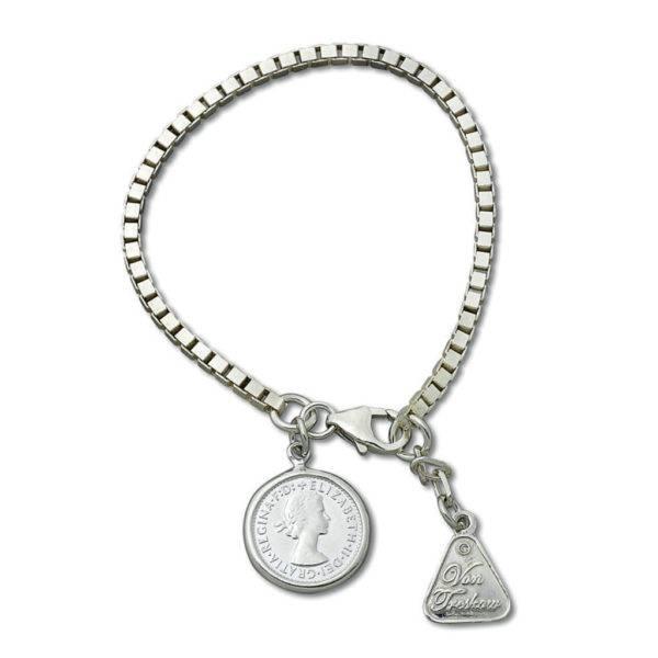 Von Treskow box chain bracelet with Threepence coin