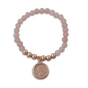 Von Treskow rose quartz threepence bracelet