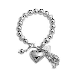 Von Treskow ball bracelet with a puffy heart & tassel