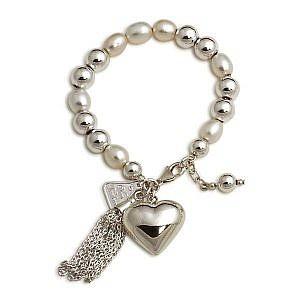 Von Treskow pearl bracelet with puffy heart & tassle