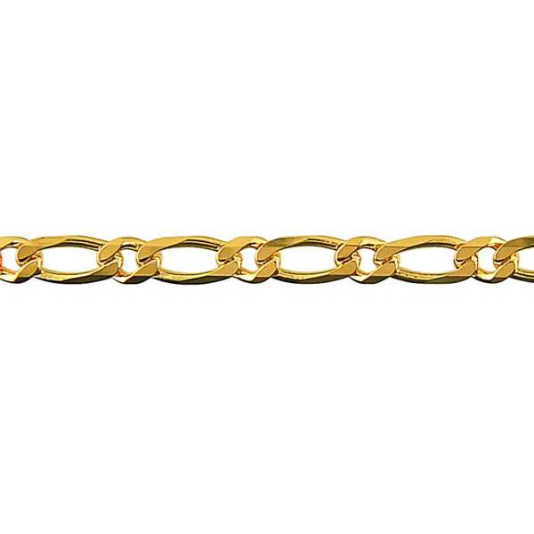 Diamond cut bevelled 1 on 1 figaro chain