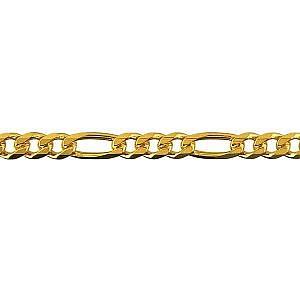 Diamond cut bevelled 3 on 1 figaro chain