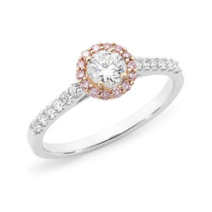 Brilliant cut pink & white diamond halo ring