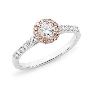 Brilliant cut pink & white diamond halo ring