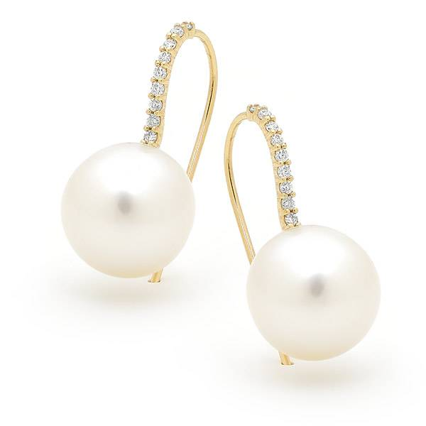 South sea pearl & diamond hook earrings