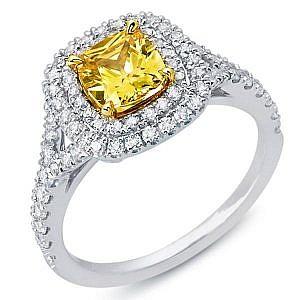 Fancy yellow cushion cut double halo ring