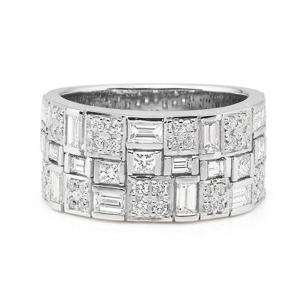 Brilliant, baguette & princess cut diamond ring