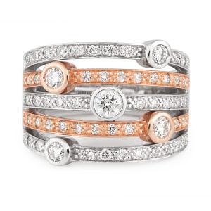 Bezel set diamond rose & white gold ring