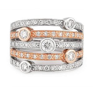 Bezel set diamond rose & white gold ring