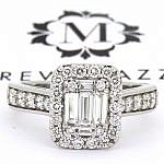 Baguette & brilliant cut diamond halo ring