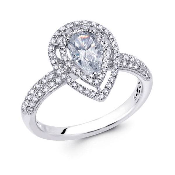 Pear cut diamond double halo ring