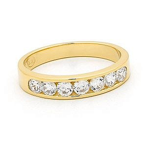 Brilliant cut diamond channel set wedding ring