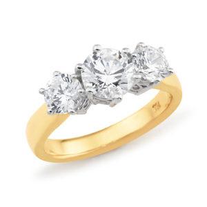 Brilliant cut 3 stone diamond ring