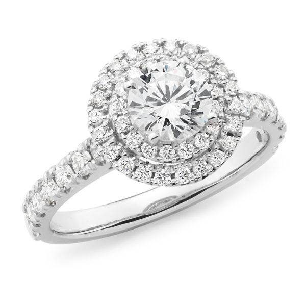 Brilliant cut diamond double halo ring