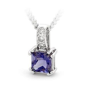 Iolite & Diamond Pendant