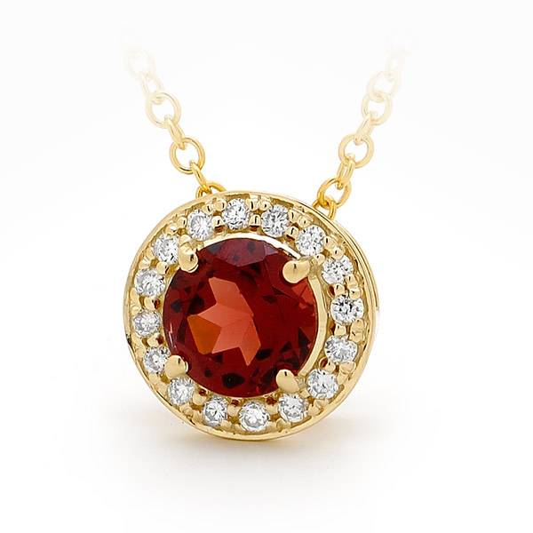 Garnet with diamond halo pendant
