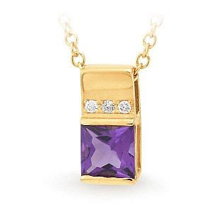 Amethyst & diamond pendant