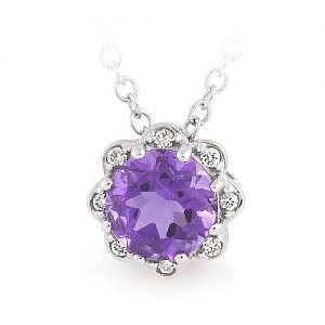 Amethyst & Diamond flower pendant
