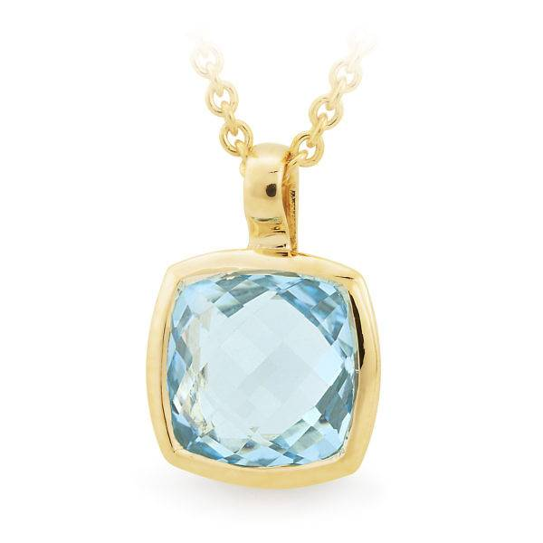 Blue topaz bezel set coloured stone pendant.