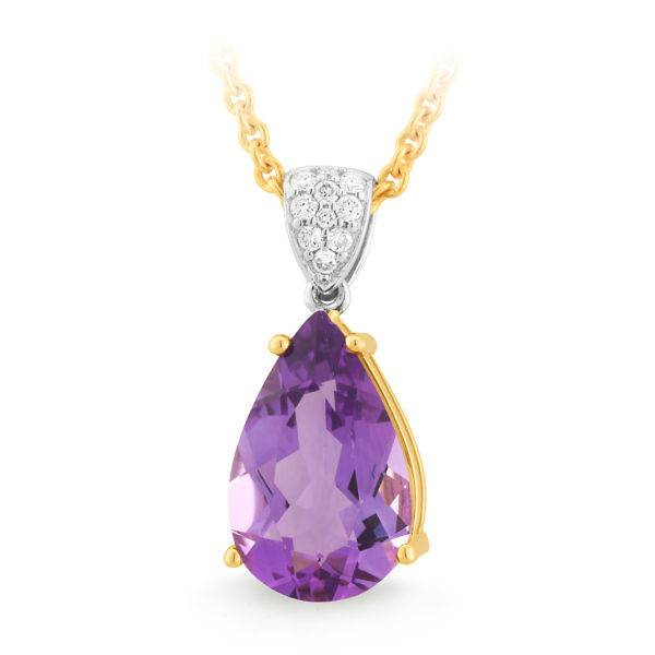 Amethyst & diamond teardrop pendant