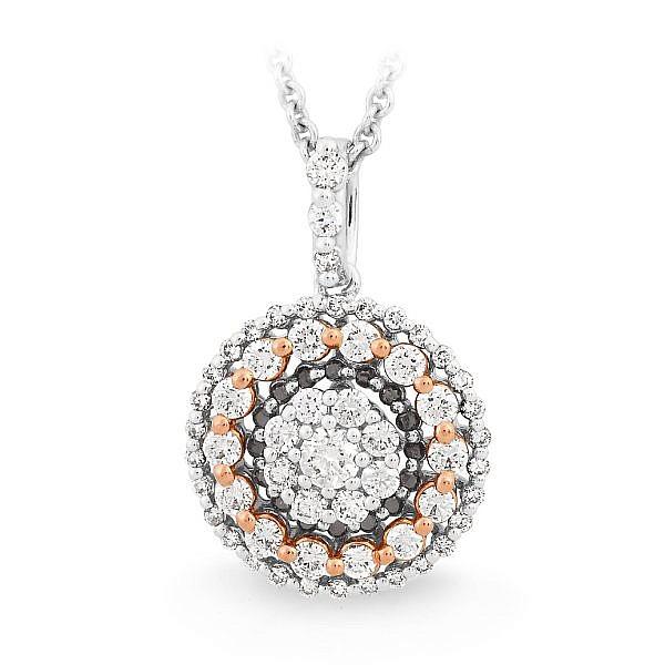 White & black diamond halo pendant