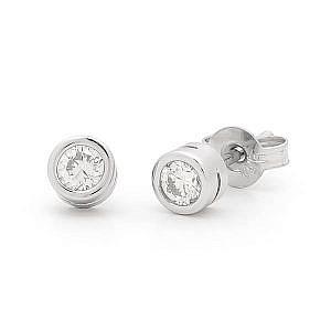 Diamond bezel set stud earring