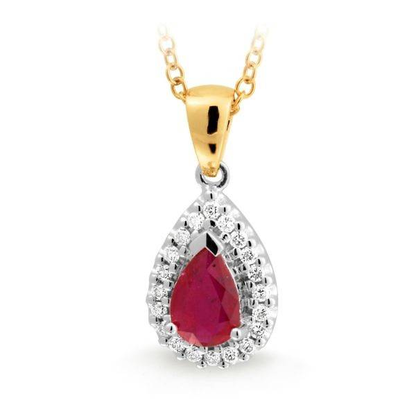 ruby & diamond drop pendant