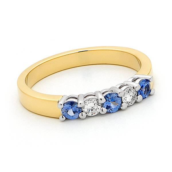 ceylon sapphire & diamond anniversary ring