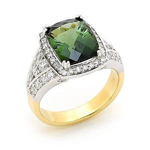 Green tourmaline & diamond halo ring