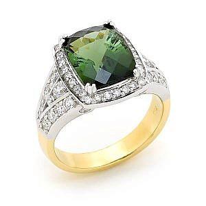 Green tourmaline & diamond halo ring