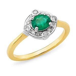 Emerald & diamond dress ring