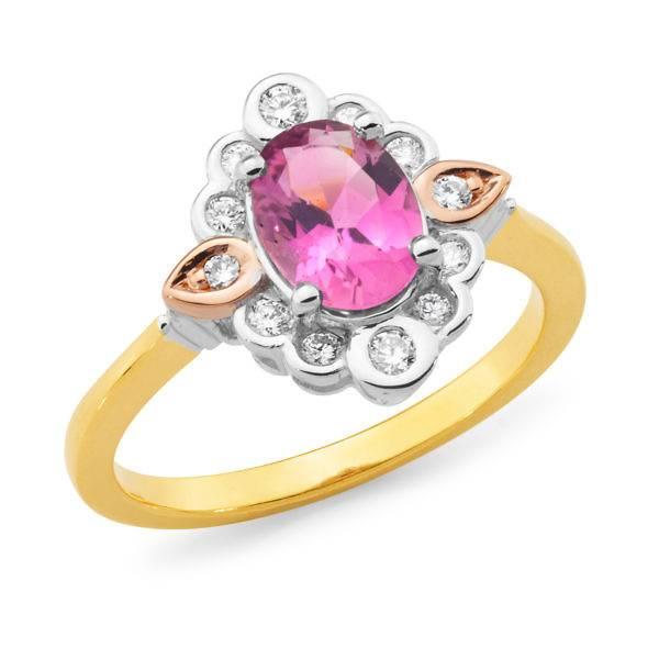 Pink tourmaline & diamond halo ring