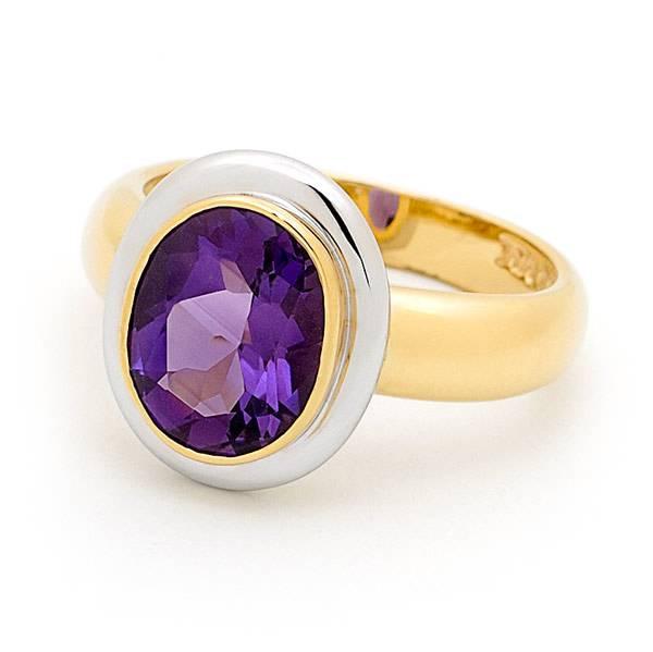 Amethyst bezel dress ring