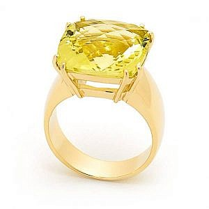 Lemon quartz cushion dress ring