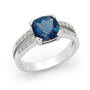 London blue topaz & diamond dress ring