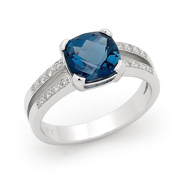 London blue topaz & diamond dress ring
