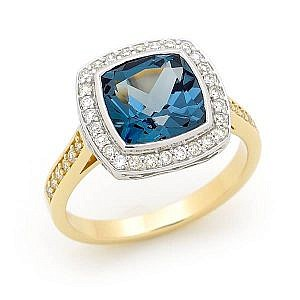London blue topaz & diamond halo ring