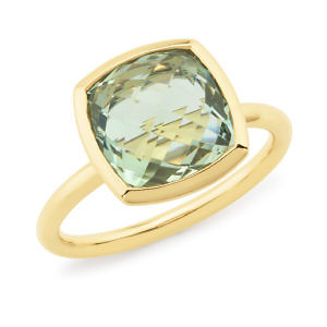 Green amethyst bezel ring