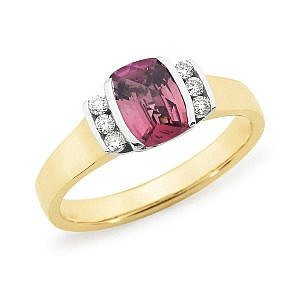 pink tourmaline & diamond side ring