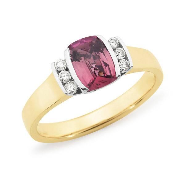 pink tourmaline & diamond side ring
