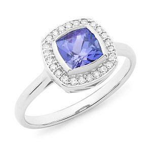 Tanzanite & diamond halo ring